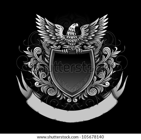 Eagle on Dark Shield Insignia - stock vector