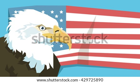 Eagle Over United States Of America Flag Vector Illustration - stock vector