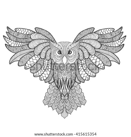 Eagle owl. Adult anti stress coloring page. Black white hand drawn doodle animal. Ethnic patterned vector. African, Indian, totem tribal, zentangle design. Sketch for tattoo, poster, print, t-shirt