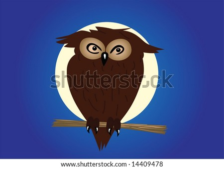 Eagle-owl on twig in the night. - stock vector