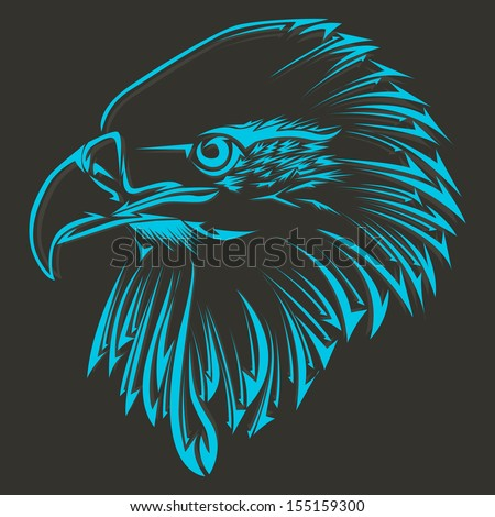 Eagle's head in the form of a tattoo on a dark background - stock vector