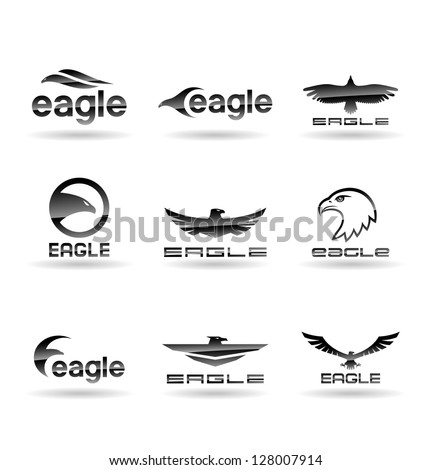 stock vector eagle silhouettes  Eagle Head Silhouette Vector
