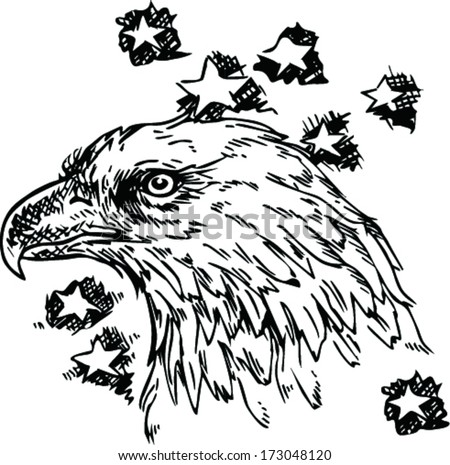 Eagle - sketch vector illustration isolated  - stock vector