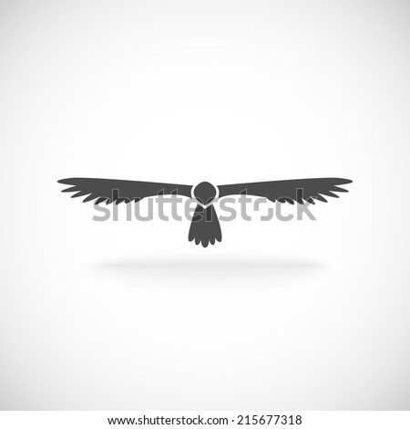 Eagle soaring aloft spread wings symbol of spirit power and strength tattoo icon black abstract vector illustration - stock vector