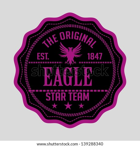 eagle star team shield vector art - stock vector
