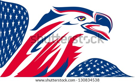 Eagle stylized with USA flag - stock vector