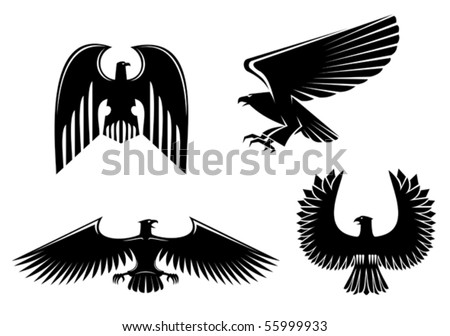 Eagle symbol isolated on white - also as emblem or logo template. Jpeg version also available in gallery - stock vector