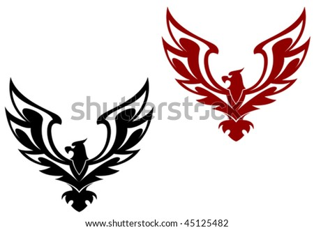 Eagle symbol isolated on white for design - as emblems. Jpeg version is also available - stock vector