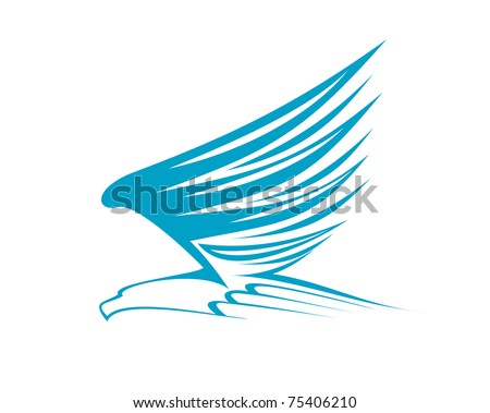 Eagle symbol isolated on white or logo template. Jpeg version also available in gallery - stock vector