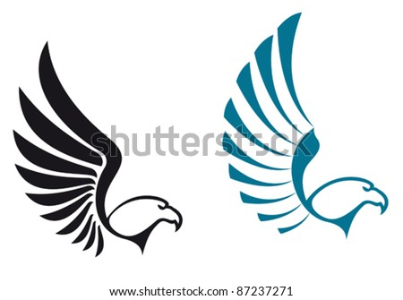 Eagle symbols isolated on white background for mascot or emblem design, also a logo idea. Rasterized version also available in gallery - stock vector