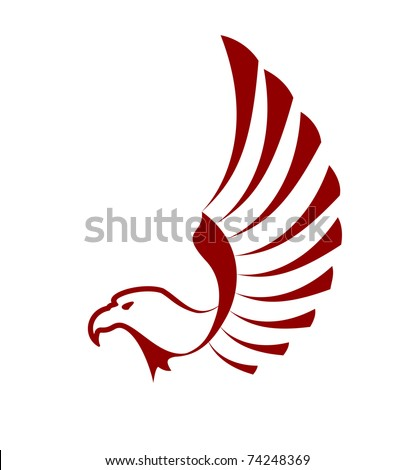 Eagle tattoo isolated on white, also as a logo idea. Jpeg version also available in gallery