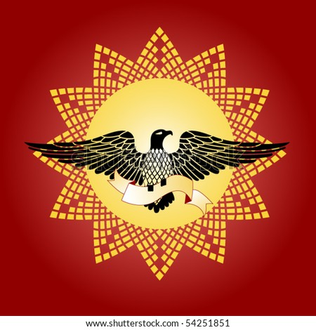 eagle with banner and sun/crest - stock vector