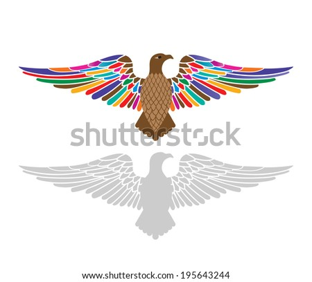 Eagle  with colored feathers,  - stock vector