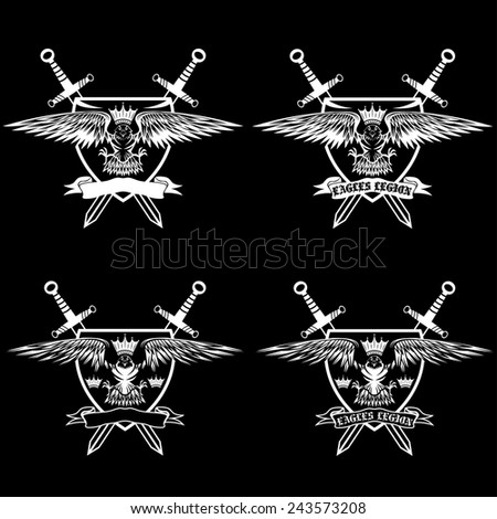 eagle with crown and swords crests collection - stock vector