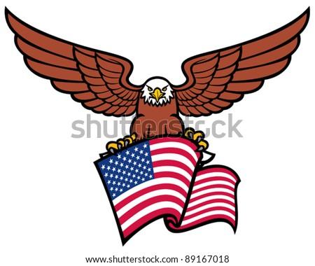eagle with USA flag - stock vector