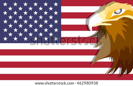 Eagle with USA flag background