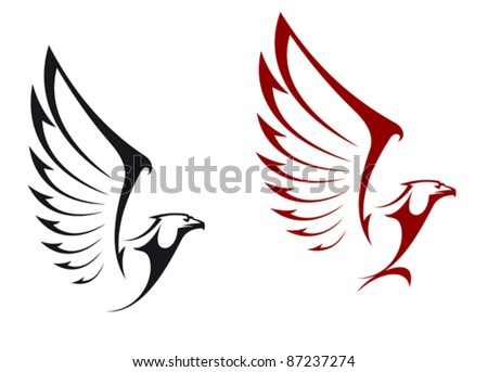 Eagles isolated on white background for mascot or emblem design, also a logo idea. Rasterized version also available in gallery - stock vector