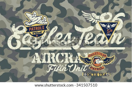 Eagles Team, vector artwork for children wear with embroidery patches and camouflage background