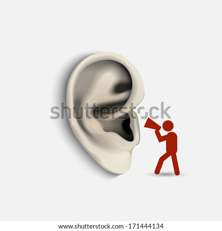 Ear and icon man with megaphone. Conceptual vector illustration - stock vector