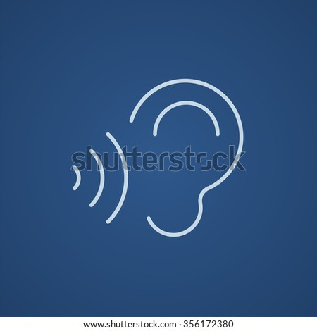 Ear sound waves line icon stock vector 369169715 shutterstock ear and sound waves line icon for web mobile and infographics vector light blue sciox Gallery