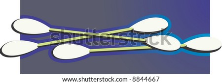 ear buds with cotton tips - stock vector