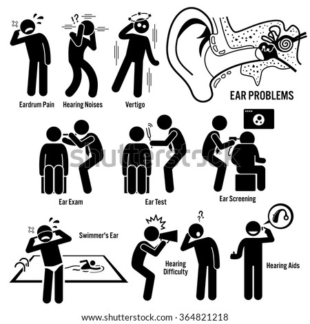 Ear Diagnosis Exam Stick Figure Pictogram Icons - stock vector