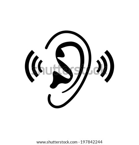 Listen Ear Icon Ear Icon Stock Vector