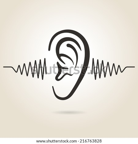 ear icon on light background - stock vector