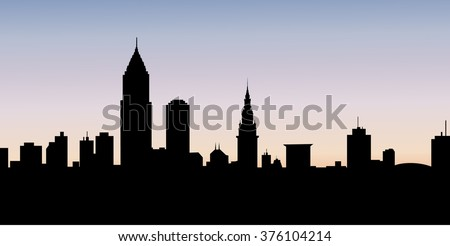Early Morning  Cleveland City Skyline - Vector