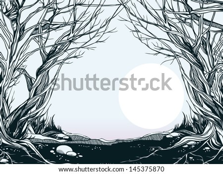 early morning in fantastic forest - stock vector