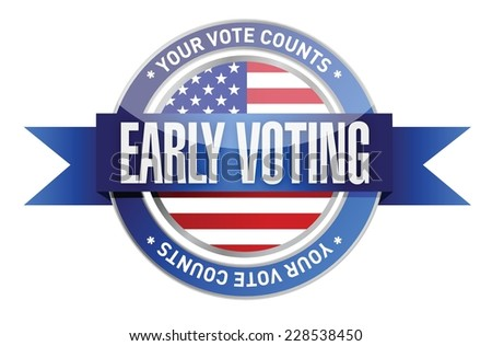 early voting seal illustration design over a white background - stock vector