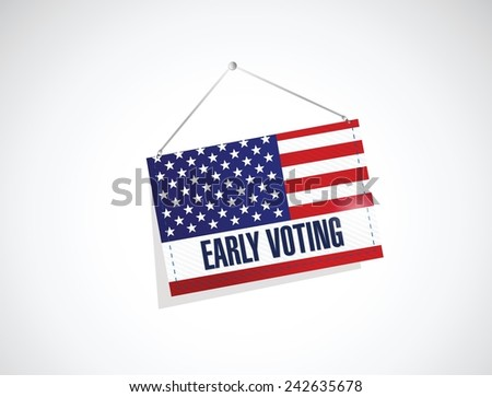 early voting us flag banner illustration design over a white background - stock vector