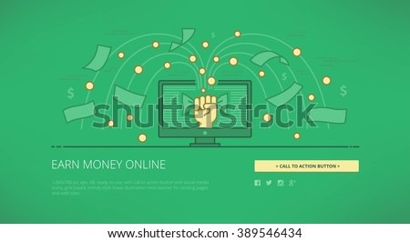 Earn money on line modern line vector illustration for web banners, hero images, web sites and landing pages with call to action button and social media icons. Ready for use - stock vector