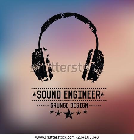 Earphone badge grunge symbol on blur background,vector - stock vector