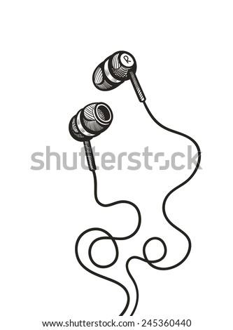 earphones sketch vector illustration - stock vector