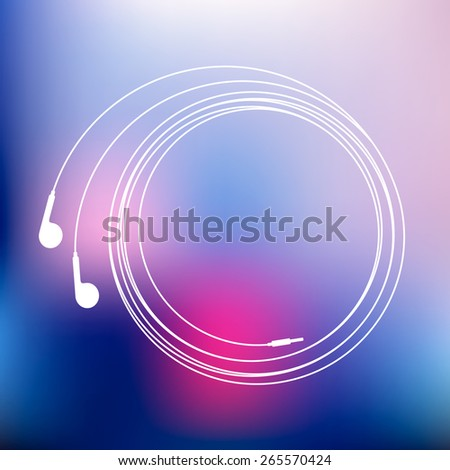 Earphones symbol linear illustration. Vector blurred evening cityscape background - stock vector