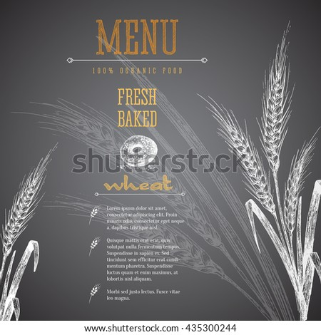 Ears of wheat isolated vector sketch hand drawn illustration, bakery shop black background with ears of wheat, title and text layout. Chalk imitation. - stock vector
