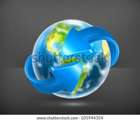Earth and arrows, vector