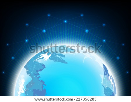 Earth and communication,technology vector background