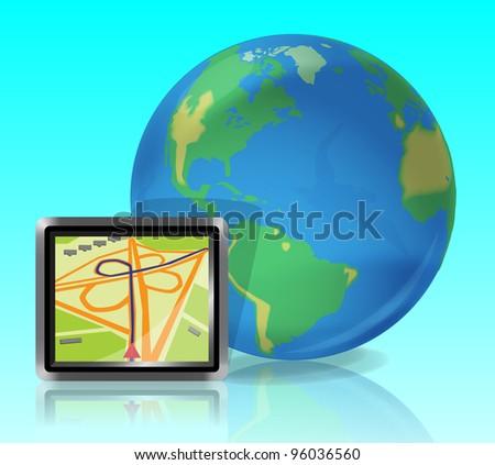 Earth and GPS navigator Icon. - stock vector