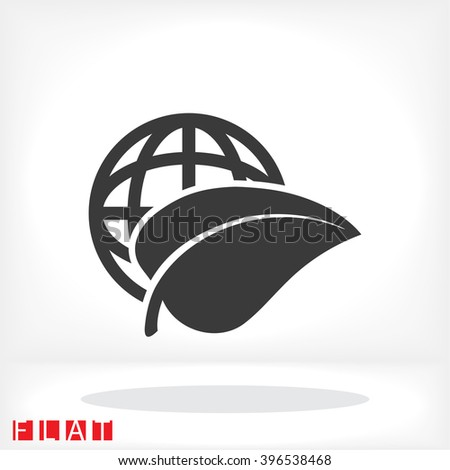 Earth and leaf icon - stock vector