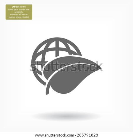 earth and leaf icon. Vector  Eps 10
