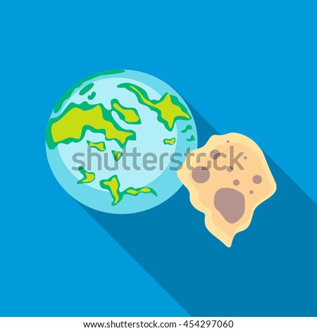 Earth and meteorite icon in flat style on a sky blue background - stock vector
