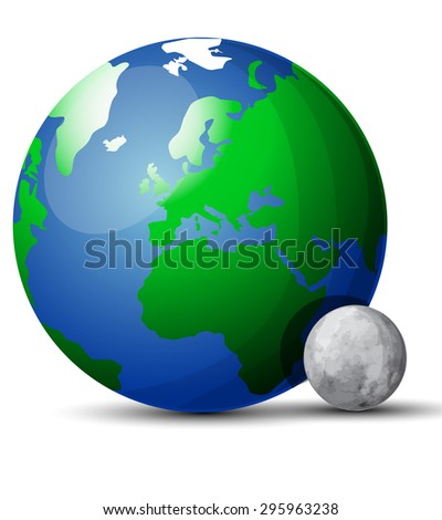 Earth and moon - stock vector
