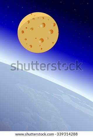 Earth and Moon in the form of cheese, with Space on the background, vector illustration - stock vector