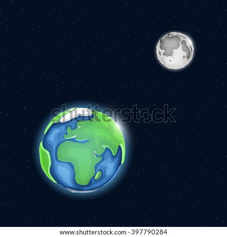 Earth and moon system in space. Vector illustration. - stock vector