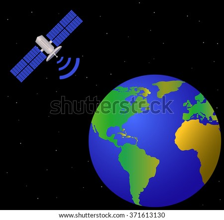earth and satellite, vector