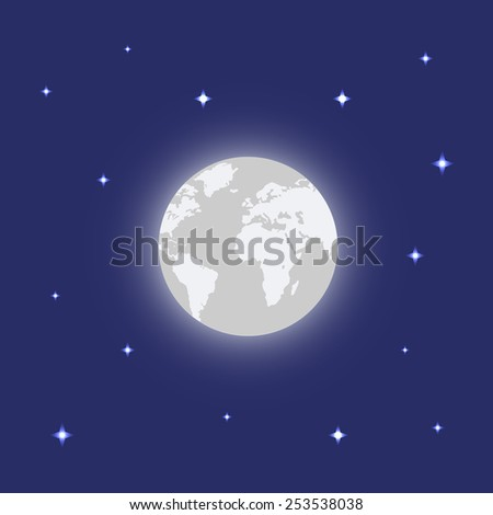 Earth and Stars. Minimal design. Abstract planet color. Earth icon, with stars backdrop. Easy to edit. Vector illustration. - stock vector