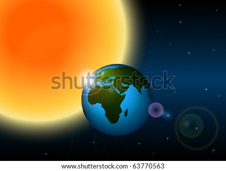 Earth and sun - stock vector