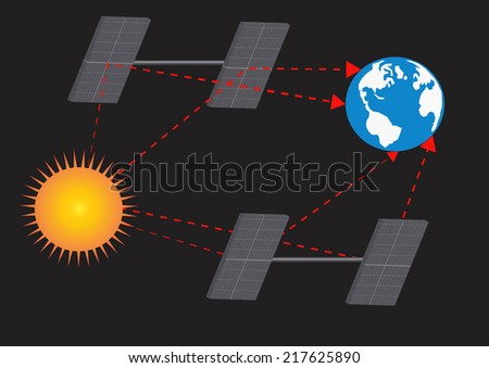 Earth and sun with solar panels.Vector illustration - stock vector